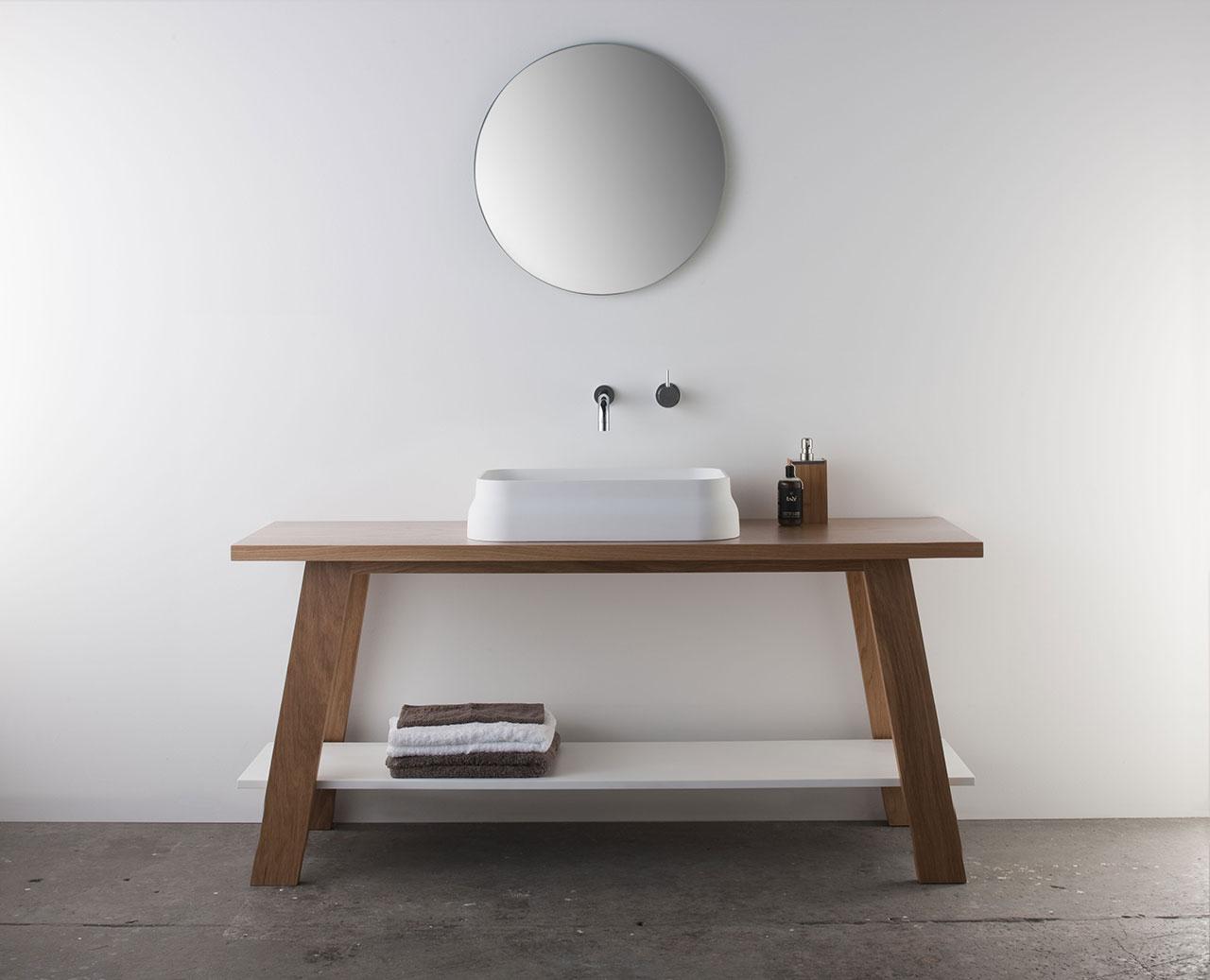 Omvivo | Latis Timber Trestle | Contemporary Bathroom Furniture