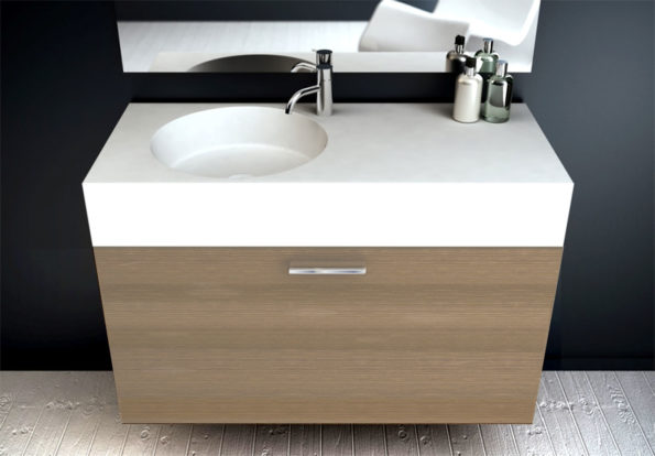 Neo 1000 offset basin with cabinet in Maison oak