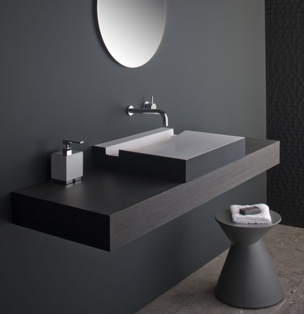 KL BASIN WITH SOFTSKIN CHARCOAL AND LALA STOOL