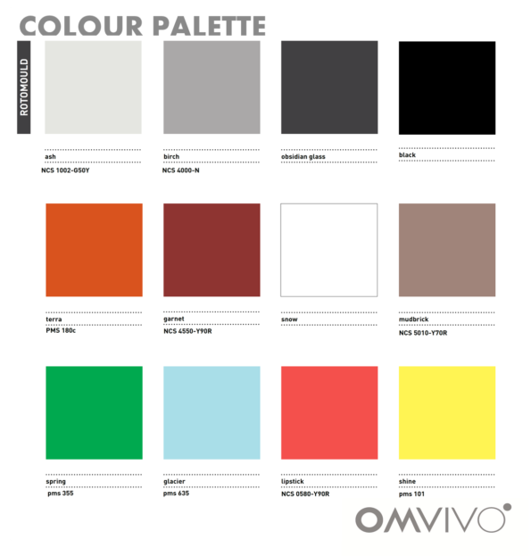 Omvivo La La and Tom Stools Colour Chart