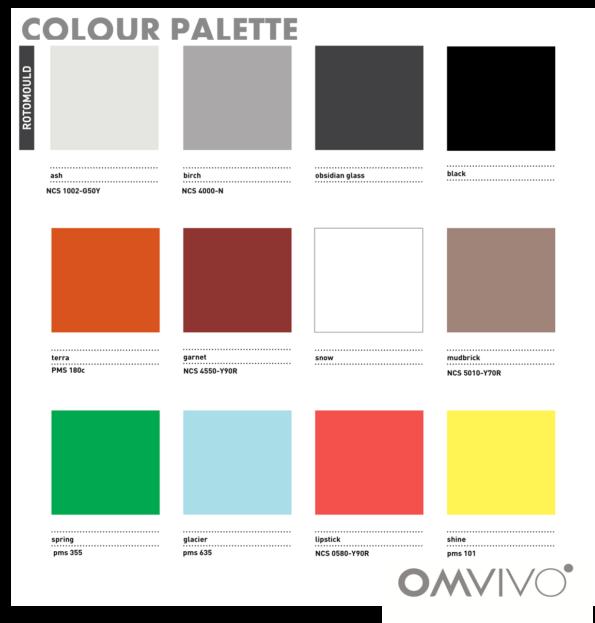 Omvivo La La and Tom Stools Colour Chart