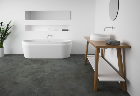 Latis Oval Bath with Latis round basin and timber trestle
