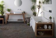 Latis White basin on Latis trestle with carrara shelf and Latis bath