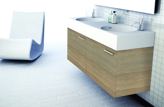 Omvivo Neo Basin and Cabinet in Maison Oak