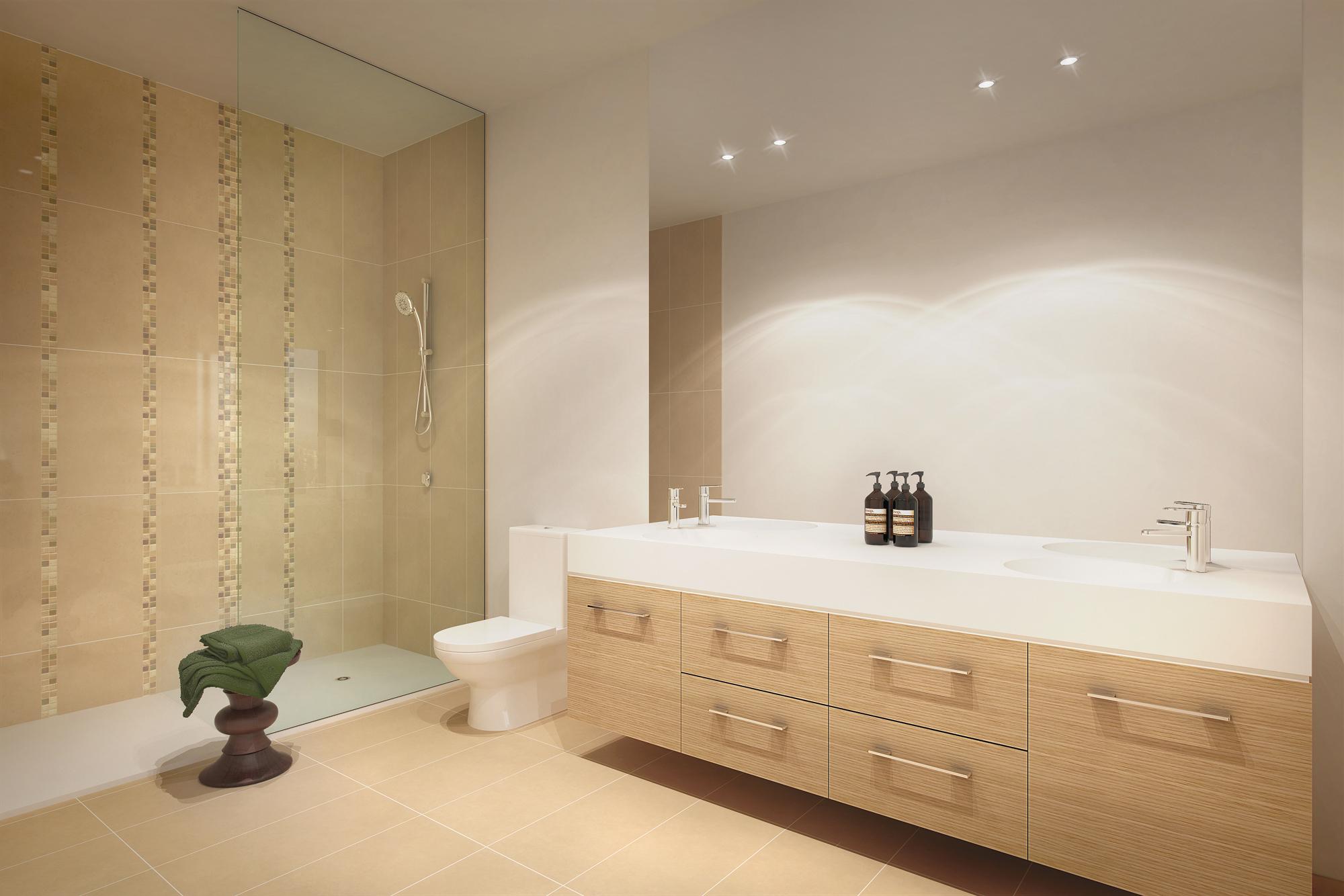 Custom Neo Vanity Prima Pearl Bathroom - Omvivo