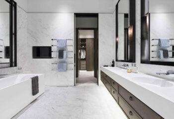 Neo Custom Basin with Custom Cabinetry Prima Pearl Tower