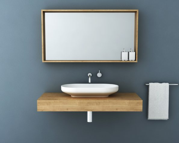 Venice 700 Basin on 1200 Floating Bench with 1200 Box Frame Mirror in Arlington Oak