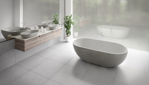 LR VILLA 600 BASIN WITH SHELF AND 1725 FS BATH IN COVE GREY
