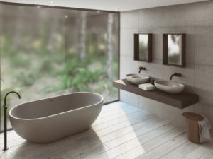 villa cove grey 600 offset basin and bath